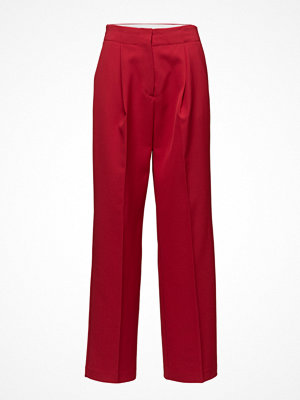 Mango mörkröda byxor Pleat Textured Trousers