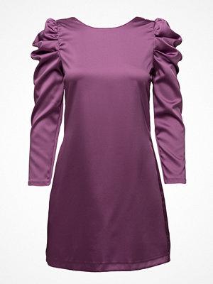 Mango Puffed-Shoulder Satin Dress