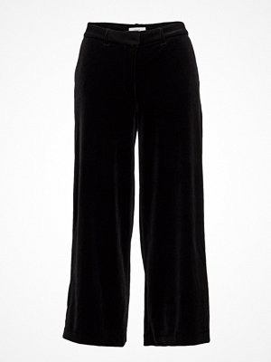 2nd One svarta byxor Eloise 103 Crop, Black Velvet, Pants