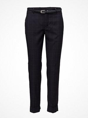 Mango svarta rutiga byxor Check Cotton Trousers