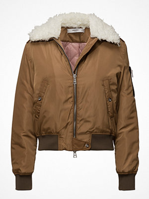 Mango brun bomberjacka Faux Shearling Collar Quilted Jacket
