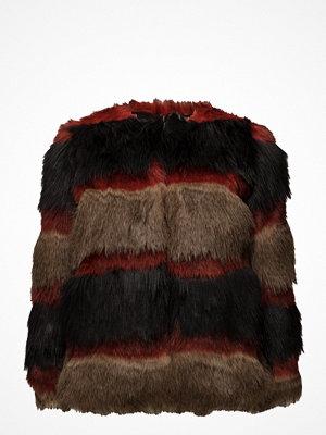 Mango Striped Faux-Fur Coat