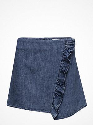Mango Ruffle Denim Skirt