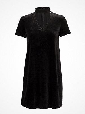 Mango Choker Neck Velvet Dress