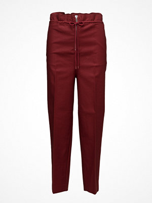 Mango vinröda byxor Drawstring Cotton Trousers