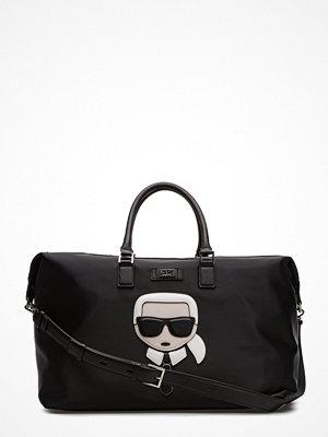 Karl Lagerfeld bags svart weekendbag med tryck K/Ikonik Nylon Weekender