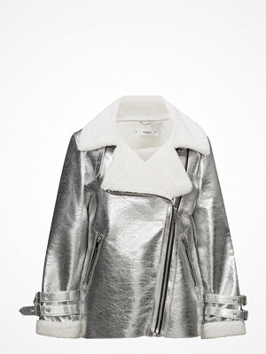 Mango Faux Shearling-Lined Biker Jacket