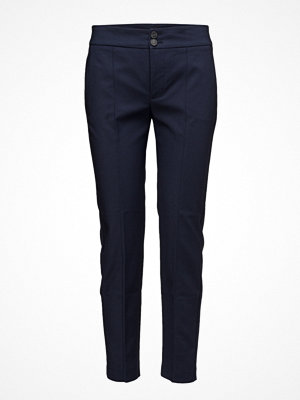 Mango marinblå byxor Straight-Cut Crop Trousers