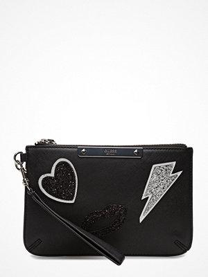 Guess svart kuvertväska med tryck Ritta Mini Clutch