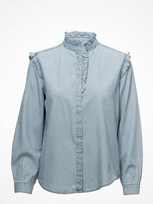 Mango Ruffled Denim Shirt