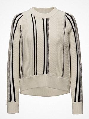 3.1 Phillip Lim Textured Cotton Stripe Crewnk High Low Po