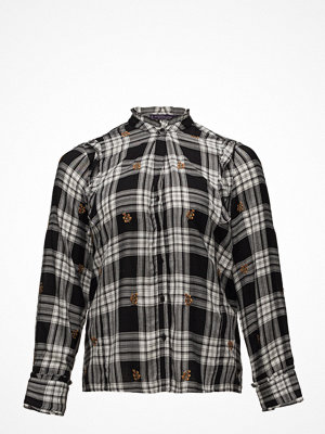 Violeta by Mango Leaf Embroidery Checked Blouse