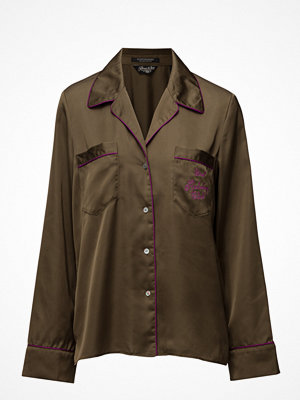Scotch & Soda Silky Feel Pyjama Shirt With Contrast Pipings & Embroideries