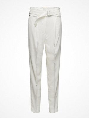 Mango vita byxor Belt Wool Trousers