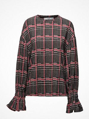Mango Puffed Sleeves Checked Sweater