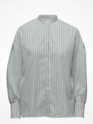 Mango Striped Mao Collar Shirt