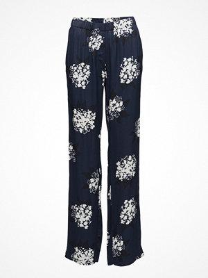 Samsøe & Samsøe marinblå byxor med tryck Hoys Straight Pants Aop 7700