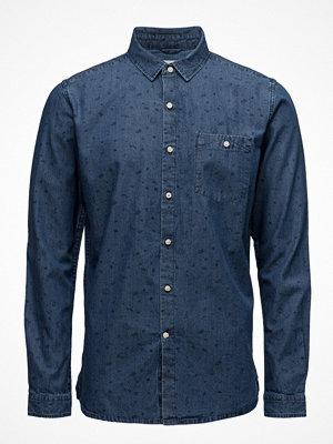 Knowledge Cotton Apparel Denim Chambray Shirt W/Allover Prin