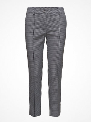 Mango grå mönstrade byxor Straight Checkered Trousers
