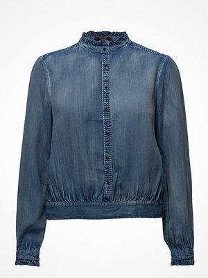 Scotch & Soda Tencel Top With Ruffles And Denim Detailing