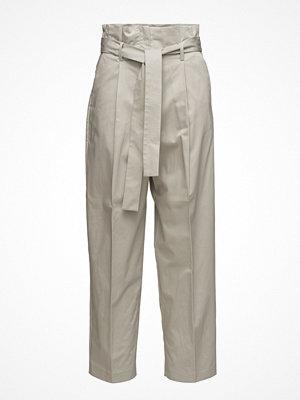 Mango ljusgrå byxor Paper Bag Trousers