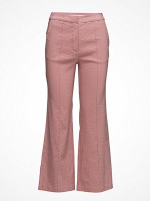 Mango omönstrade byxor Straight Linen-Blend Trousers