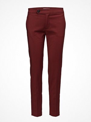 Mango vinröda byxor Cropped Button Pants