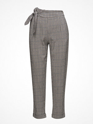 Mango grå rutiga byxor Knot Detail Trousers