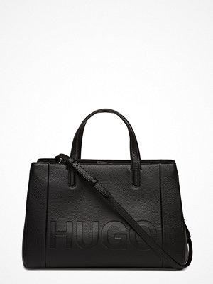 Hugo svart axelväska med tryck Mayfair Tote