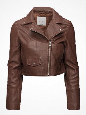 Mango Cropped Leather Jacket