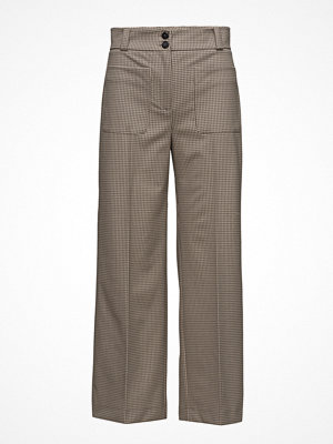 Mango mönstrade byxor Check Cropped Trousers