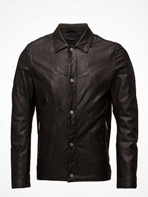 Skinnjackor - Junk De Luxe Washed Leather Truck Jacket