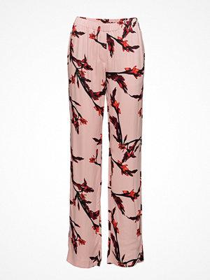 Samsøe & Samsøe persikofärgade byxor med tryck Hoys Straight Pants Aop 7700