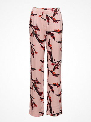 Samsøe & Samsøe gammelrosa byxor med tryck Hoys Straight Pants Aop 7700