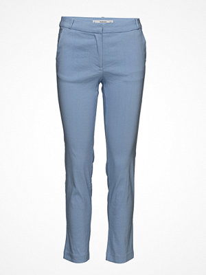 Mango omönstrade byxor Straight Linen-Blend Trousers