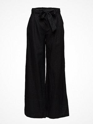 Mango svarta byxor Linen High-Waist Trousers