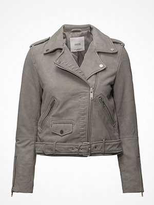 Mango Stitched Biker Leather Jacket