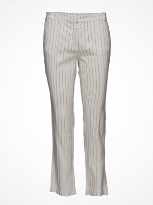 Mango ljusgrå randiga byxor Striped Linen-Blend Trousers