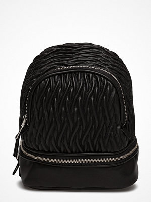 Mango svart ryggsäck Zip-Detail Texture Backpack