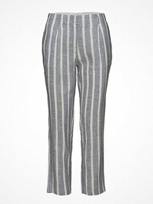 Mango grå randiga byxor Striped Linen-Blend Trousers