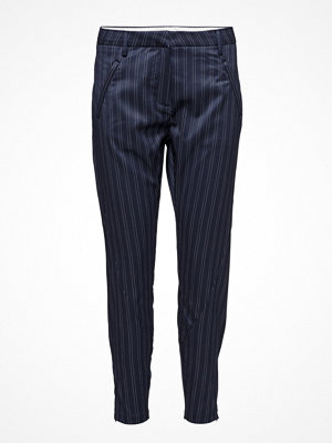 Fiveunits marinblå randiga byxor Angelie 643 Zip, Navy Business, Pants