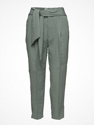 Mango omönstrade byxor Bow Belt Trousers