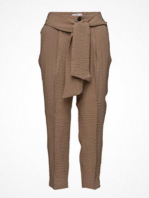 Mango omönstrade byxor Bow Belt Trousers