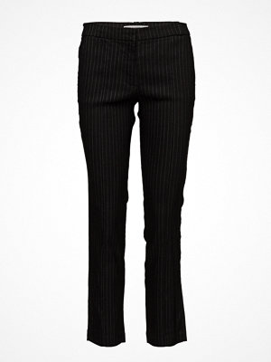 Mango svarta randiga byxor Striped Linen-Blend Trousers