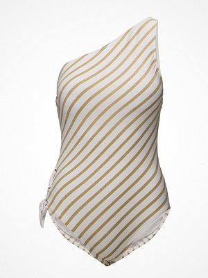 Lauren Ralph Lauren Lurex Stripe One Shoulder Lace Side Mio Shape