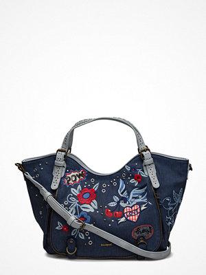 Desigual Accessories marinblå shopper med tryck Bols Denim Flowers Rotte