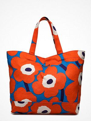 Marimekko röd shopper med tryck Unikko Bag Pieni Unikko