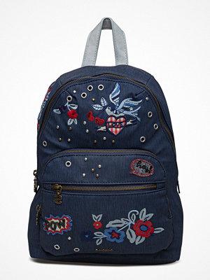 Desigual Accessories marinblå ryggsäck med tryck Bols Denim Flowers Lima