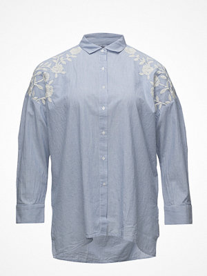 Violeta by Mango Embroidered Fine-Stripe Shirt