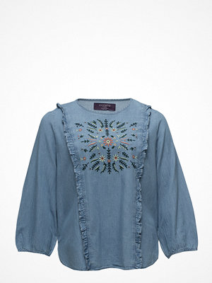 Violeta by Mango Embroidered Denim Blouse